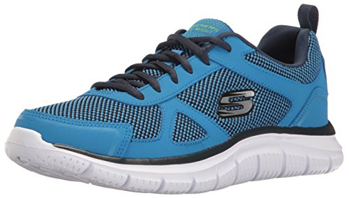 Skechers Sport Men's Track Oxford, Blue/Lime, 7.5 M US - Sport Casual Oxford
