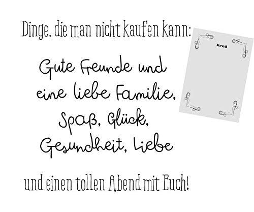 Servietten Menükarte Tischdeko Geburtstag Essen Spaß Familie 20 Stück 3-lagig 33x33cm
