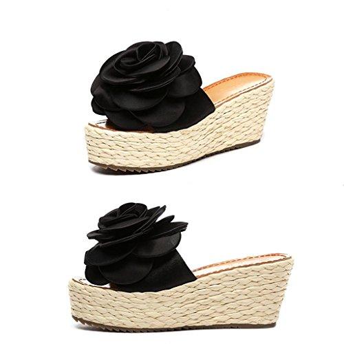 BaiLing Damen-Sommer-Pantoffeln / Wedge-Ferse handgefertigte gestrickte Stroh wasserdicht / Strand große Blumen kleine Größe weibliche Sandalen Schuhe Black