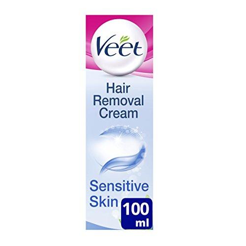 Veet - Crema depilatoria para pieles sensibles (con aloe vera y vitamina E, 100 ml)