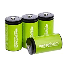 AmazonBasics C Cell Rechargeable Batteries 5000mAh Ni-MH, 4-Pack