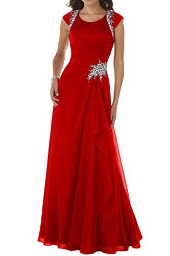 Ivydressing Damen Modisch A-Linie Rundkragen Chiffon Lang Festkleid Ballkleid Abendkleid Rot