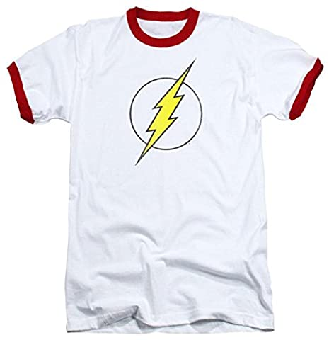 maikeerDc Flash Logo Distressed Mens Ringer Shirt