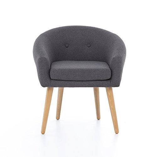 myHomery Milo Lounge Sessel gepolstert - Polsterstuhl für Esszimmer & Wohnzimmer - Vintagesessel mit Armlehnen - Eleganter Armlehnenstuhl aus Stoff - Retro -