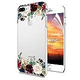 iPhone 8 Plus/iPhone 7 Plus Hülle [mit HD-Schutzfolie],OKZone [Blumen Series] Transparent Silikon Muster Hülle TPU Blühende Blumen Design Schutzhülle für Apple iPhone 8 Plus/iPhone 7 Plus (Dunkelrot)