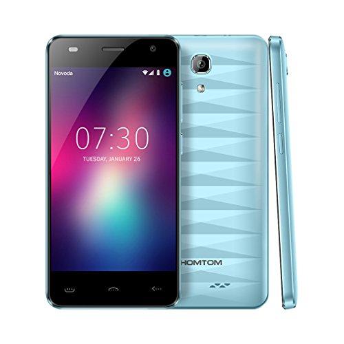 HOMTOM HT26 4G Smartphone Ohne Vertrag 4,5 Zoll 1GB RAM+8GB ROM MTK6737 Quad-Core Android 7.0 Dual SIM Handy 8MP+5MP Dual Kamera mit Beauty-Effekt (Blau)