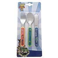Disney 557 1501 Toy Story 3 Piece Metal Cutlery Set, Stainless Steel