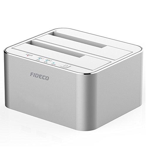 USB 3.0 Externe Festplatten Dockingstation, FIDECO Aluminium Dual Bay Hdd Docking Station Optimiert für HDD/SSD/SSHD or 2.5 und 3.5 Zoll SATA III Offline Klon[Unterstützt 2 x 10 TB (Silber) ]