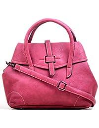 Hopping Street Stylish Elegance Fashion Pink Color Faux Leather Handbag for Women