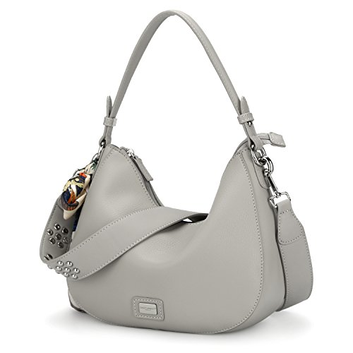 David Jones - Womens Zipper Cross Body Bag - Smooth Faux Leather Ladies Saddle Bags - Shoulder Purse Wallet Messenger Handbag - With Multicolor Scarf Hobo Bag Fashion Girl Travel - Grigio Chiaro Grigio Chiaro