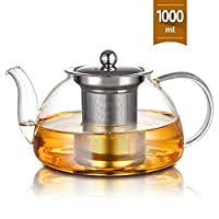Sulives Glass Teapot with Removable Stainless Steel Infuser, Tea Kettle Stovetop Safe, Blooming & Loose Leaf Teapots 1000ml ZYTX20191101