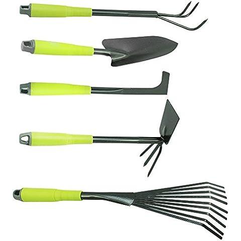 COM-FOUR di 5pezzi Set da giardino cazzuola per fiori, flor65753, Rastrello, Scopa raschietto per fughe, piccolo &, colore: verde