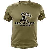 Camiseta de caza, Pasión y Tradición, Caza al Corzo (30135, Verde, XL)
