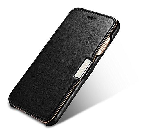 Luxus Tasche für Apple iPhone 8 und iPhone 7 (4.7 Zoll) / Case mit Echt-Leder Außenseite / Case mit Echt-Leder Außenseite / Schutz-Hülle seitlich aufklappbar / ultra-slim Cover / Etui mit Textil-Innen Schwarz - glatt