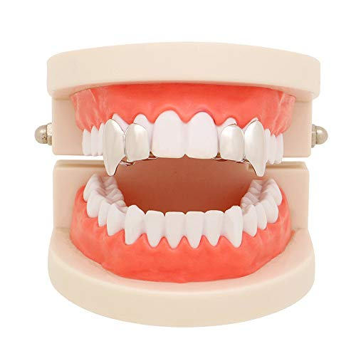 Hip Hop Teeth TAOtTAO 1Pair Hip Hop Teeth Grillz Top Mouth Teeth Grills Fashion Removable Dental Grill (Silber) Vampire Fang Grillz