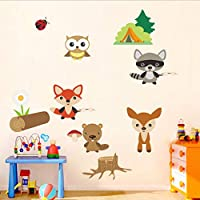 Sticker Forest Zoo Cartoon Wall Sticker Kindergarten Layout Classroom Owl Raccoon Decorative Waterproof Self-Adhesive Painting