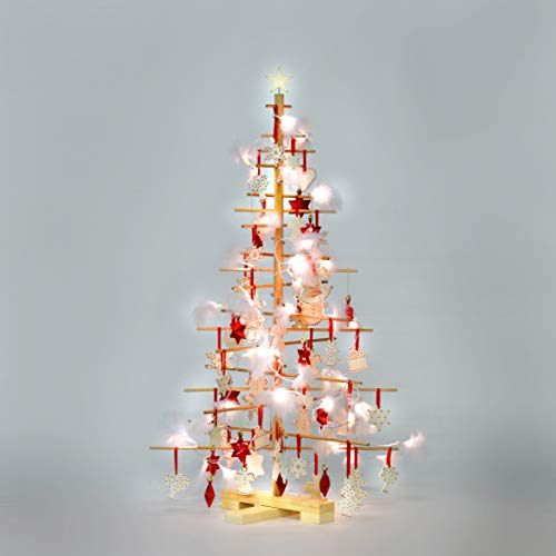 xmas3 M - 125 cm Weihnachtsbaum aus Holz, Natural, 68 x 68 x 125 cm