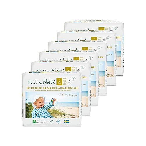 NATY by Nature Babycare 8178389 Eco by Naty Premium Bio-Windeln für empfindliche Haut, Größe 4, 7-18 kg, 6 Packung à 26 Stück (156 Stück insgesamt), weiß - 2