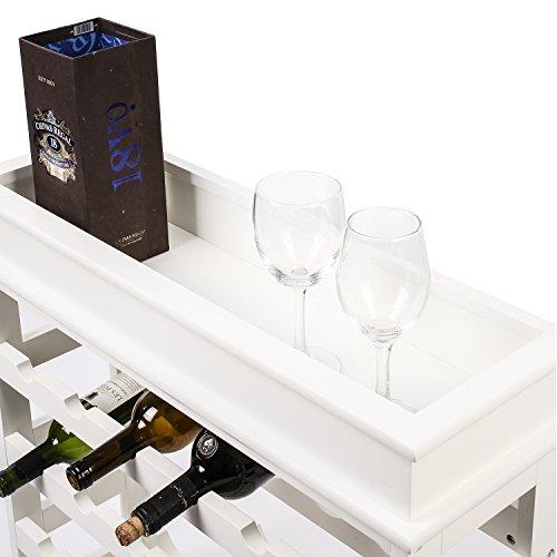HOMFA Weinregal Flaschenregal für 24 Flaschen Weinhalter Weinständer Flaschenständer Weinflaschenhalter weißes Holz 70x70x22,5cm - 4