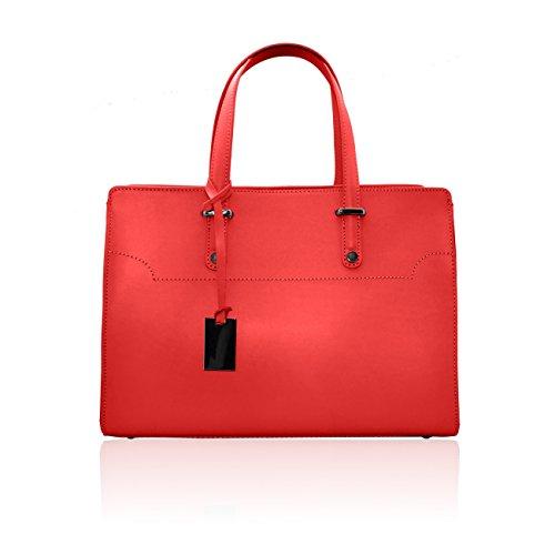 HILLARY Borsa cartella in pelle liscia con accessorio dark nikel rosso