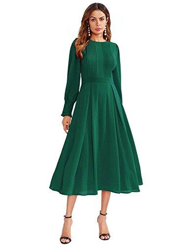 DIDK Damen Plissee Kleider Rundhals A Linie Faltenkleid Elegant Langarm Midi Kleid mit Reißverschluss Grün L