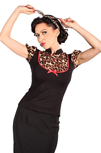Retro Puffärmel Leoparden pin up Rockabilly Leo Bluse T-Shirt schwarz L -