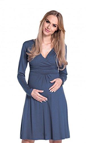 Happy Mama. Donna Abito elasticizzato prémaman vestito svasato manica lunga 890p Blu Grigio