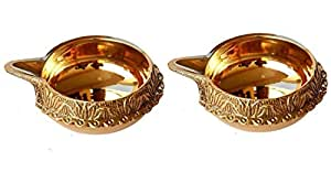 Dreamkraft Brass Diwali Kuber Deepak (Diya Oil Lamp) For Puja Home Decor (Set Of 2)