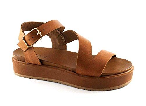 INUOVO 7320 coconut cuoio sandali donna platform incrocio fibbia Marrone