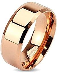 Taffstyle® Edelstahl Bandring Partnerring Ehe Paar Ring poliert für Damen Herren / Rosegold