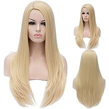 "28"" 70CM Peluca de pelo largo liso para mujer cosplay fiesta peluca sintética de moda (rubio claro)"