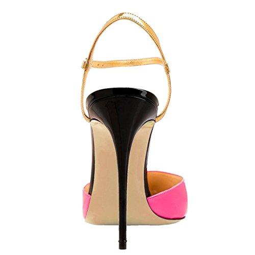 EDEFS Damen Stiletto Heel Spitze Zehen Knöchelriemchen Pumps Mode Fashion Kleid Schuhe 10cm-Rose