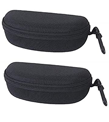 Ziory Unisex Semi Hard Tricot Lined Zippered Black Eyewear Cover Case Pouch (Black, Free Size) - Set of 2 Pcs