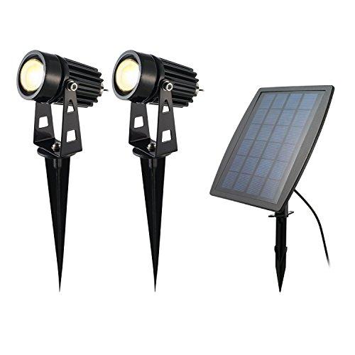 IUQY 2 Stück LED Solarleuchten Außenlampe Beleuchtung IP65 Wasserdicht Led Solar Strahler mit 3000K Außenstrahler für Garten, Terrasse,Garage, Wegen, Teich Aussen-Leuchte [Energieklasse A+]