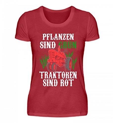 Camicia Organica Da Donna Di Alta Qualità Di Shirtee - I Trattori Agricoli Sono Rossi Rosso Scuro