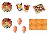 Party Store Web by Hogar Dulce Hogar Dragon Ball Z Goku Juego de decoración de Fiesta–Kit N ° 11de 8Platos, 8Vasos, 20servilletas ,1Mantel ,100Globos