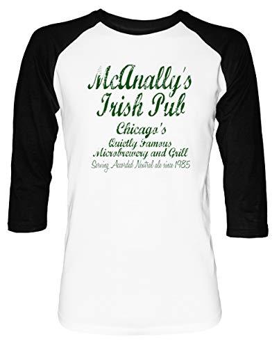 9d70af92951a1 McAnallys Irish Pub Homme Femme Unisexe Baseball T-Shirt Blanc Noir Manches  2/3
