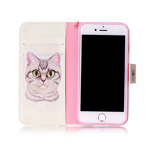 Coque iPhone 7, Étui en cuir pour iPhone 7, Lifetrut [Cash Slot] [Porte-cartes] Magnetic Flip Folio Wallet Case Couverture avec sangle pour iPhone 7 [Rayures & Coeurs] E202-Chat