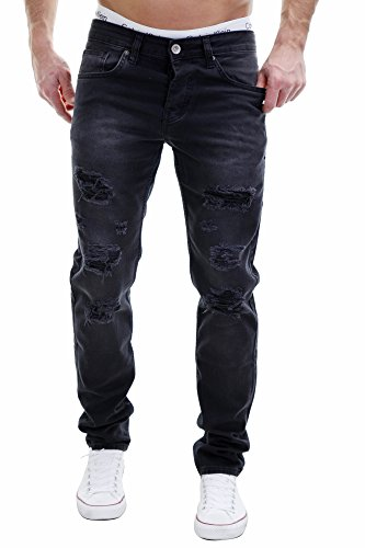 Merish Jeans Herren Destroyed Black Denim Hose Chino Streetstyle J2212 32/32