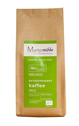 BIO Kaffee Mexiko Entkoffeiniert 500g von der Kaffeerösterei Martermühle: Ganze Bohnen - Schonend...