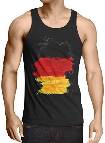 CottonCloud Flagge Deutschland Herren Tank Top Fußball Sport Germany WM EM Fahne, Größe:M, Farbe:Schwarz