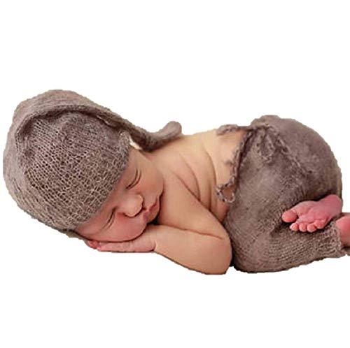 Matissa Baby Kleinkind Neugeborenen Hand gestrickt häkeln Strickmütze Hut Kostüm Baby Fotografie Requisiten Props (Schläfriger Engel)