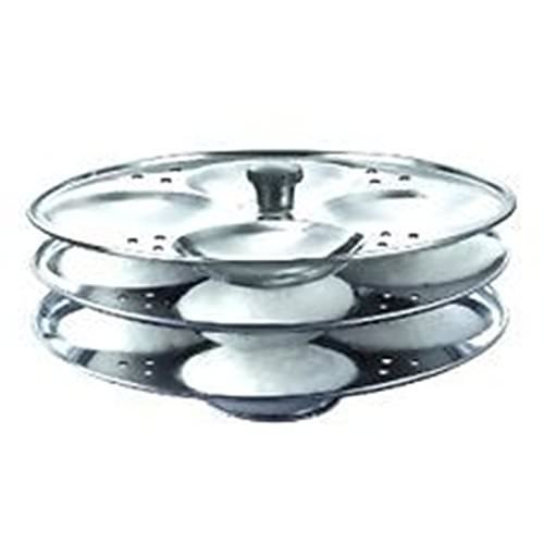 Kitchen Delli Stainless Steel 3-Rack Idli Stand, Makes 12 Idlis