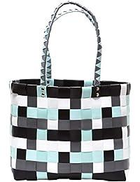 37ca448e5c7ec XXL Big Bag Shopper Tasche Flechttasche Strandtasche knautschfähig robust  abwaschbar bunt MINT   GRAU