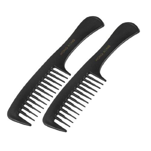 sourcingmap 2 Pcs Coiffure DIY Dents Larges Plastique bouclé Soin Des Cheveux Poignée Peigne 19.6cm