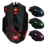 KINGTOP Optische Gaming-Maus, kabelgebundene wired Gaming Maus, USB Gamer Maus, 9200 DPI Laser Maus, einstellbare 6 stufige DPI, 8 Stk. Gewichten, 6 LED-Farben, 8 Tasten, für Computer, PC, Windows, Mac, iOS