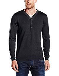 TOM TAILOR Herren Pullover basic serafino 2in1 sweater/508