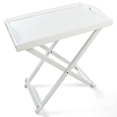 Falten Serviertisch Tablett Tisch Holz weiß 60x36x55cm