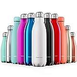 Proworks Edelstahl Trinkflasche | 24 Std. Kalt und 12 Std. Heiß - Premium Vakuum Wasserflasche - Perfekte Isolierflasche für Sport, Laufen, Fahrrad, Yoga, Wandern und Camping - 1 Liter - Weiß