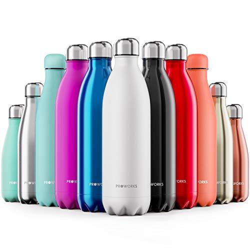 Proworks Edelstahl Trinkflasche | 24 Std. Kalt und 12 Std. Heiß - Premium Vakuum Wasserflasche - Perfekte Isolierflasche für Sport, Laufen, Fahrrad, Yoga, Wandern und Camping - 750ml - Weiß